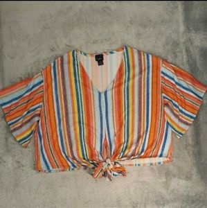 Rue+ Rainbow Stripe V Neck Tie Front Top